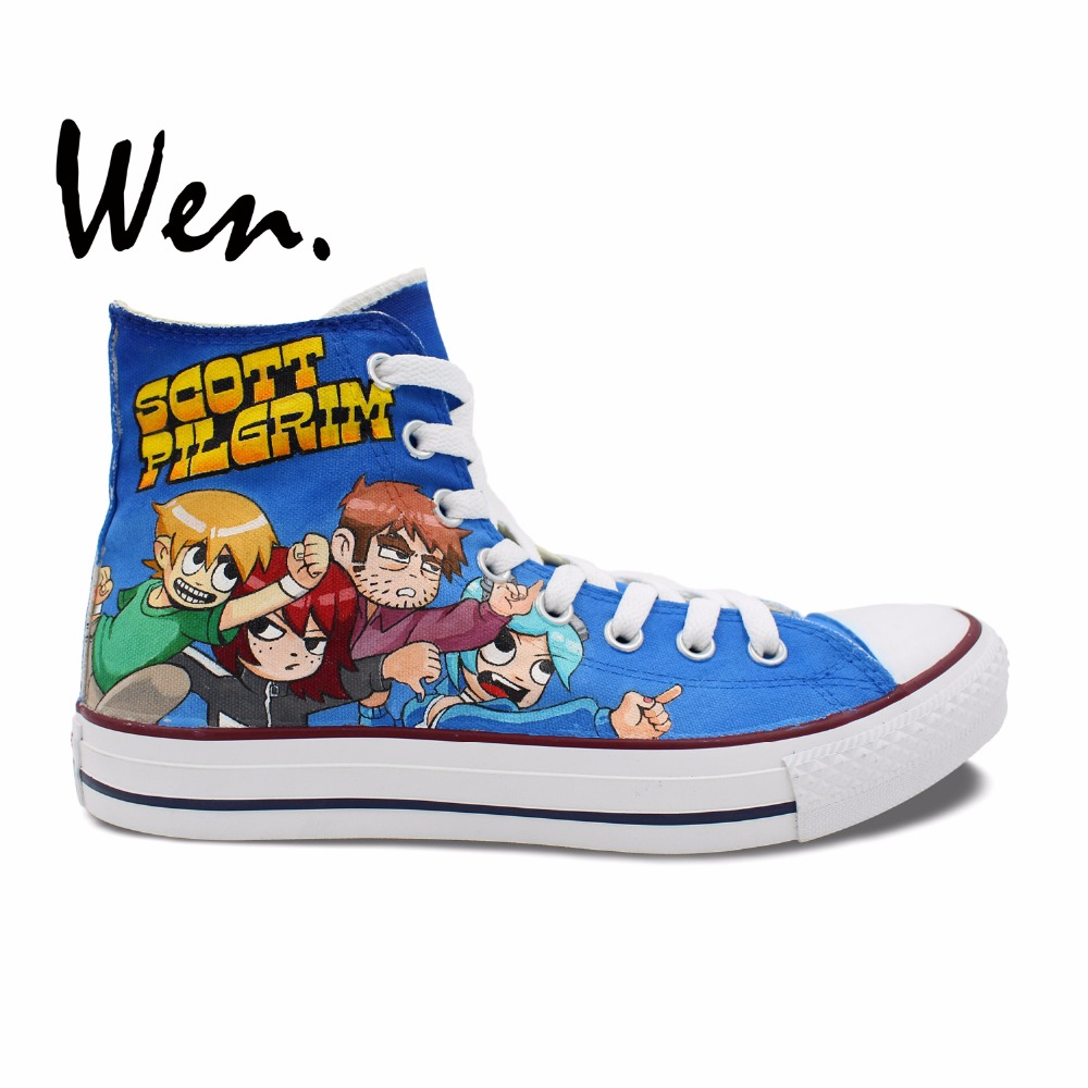Wen Design Custom Blue Hand Painted Shoes Scott Pilgrim High Top Woman Man's Canvas Sneakers for Birthday Gifts