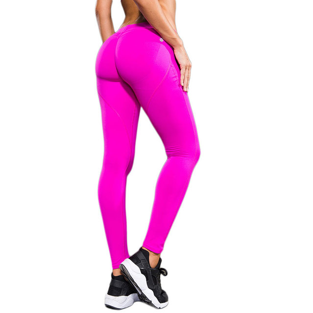 fa7a2a77c Women Pink Fitness Leggings For Woman Sexy Push Up Leggins High Elastic  Peach Hip Jegging 2016