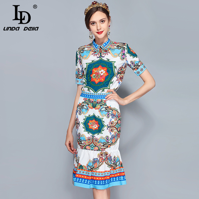 Spring Summer Runway Suit Set Women's Short Sleeve Vintage Printed Top Sexy Mermaid Set