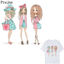 Prajna Modern Girl Iron-on Transfers Thermal Patches For Clothing Applique Backpack T-Shirt Cartoon Heat Transfers Stickers E(China)
