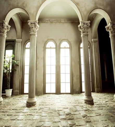 8x12ft Indoor Window Column Arch Door Antique White House