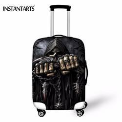 INSTANTARTS Прохладный Череп Rock Band печати Чемодан защитную крышку для 18-30 дюймов тележка чемодан эластичные Wateproof пыль дождь охватывает