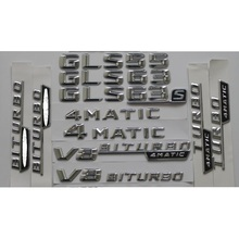 Chrome Shiny Silver ABS Car Trunk Rear Number Letters Words Badge Emblem Decal Sticker for Mercedes-Benz GL63