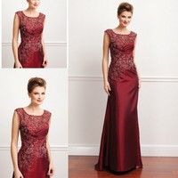2015 Scoop Sheath/Column Sleeveless Floor Length Taffeta burgundy Mother Of The Bride Lace Dress Godmother Dress ZM106