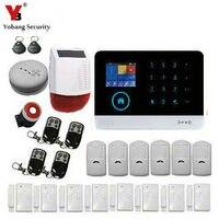 Yobangsecurity охранной сигнализации Системы wifi gsm gprs охранных Системы Защита от взлома комплект с солнечной Мощность Siren Детекторы дыма