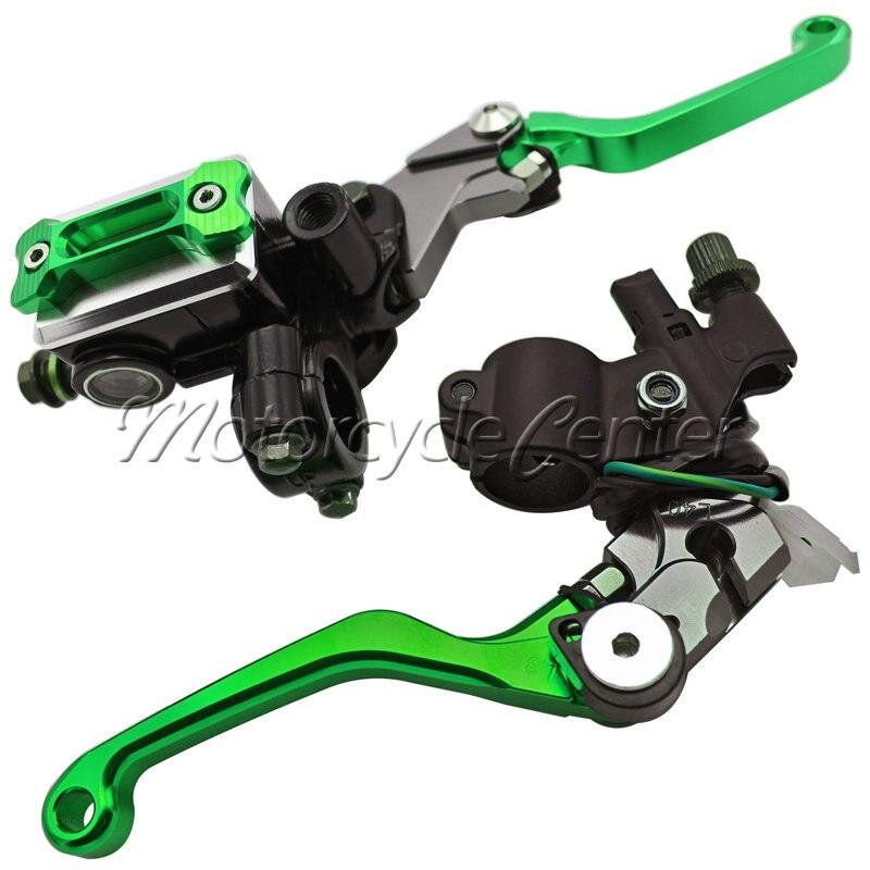 Motorcycle 7/8 22mm Brake Master Cylinder Reservoir Levers For Kawasaki KX80 KX250 KX 80 85 250 KLX 450R 125 D-TRACKER125 Green женские толстовки и кофты new brand 2015 ballinciaga 2 piece 8718