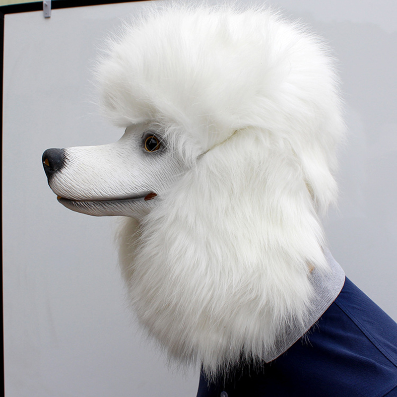 Image 4 - Christmas White Poodle Dog head Party Mask Latex With Further Animal Cosplay Fancy Dress Masks Adult Funny Costume PropsParty Masks   -