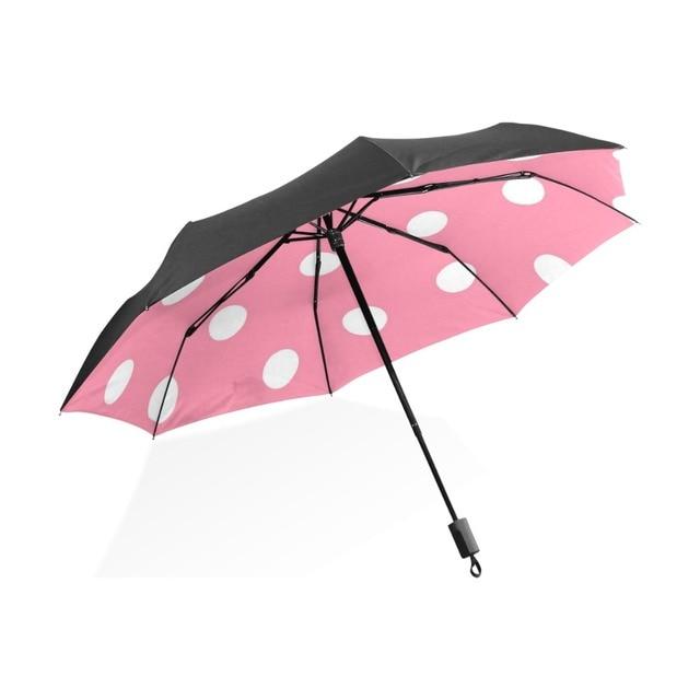 b80cbd28b9a1 US $23.59 41% OFF|Three Folding Cute polka dot pink Pattern Women Umbrella  Ultralight Compact Sun/Rain Umbrella UPF 50+ UV Protected Parasol-in ...