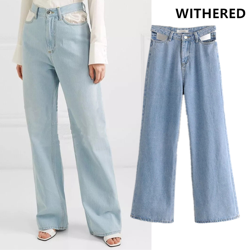 Withered Ins Vintage Runway Hollow Out Wid Leg Jeans Woman High Waist Jeans Ripped Jeans For Women Boyfriend Jeans For Women
