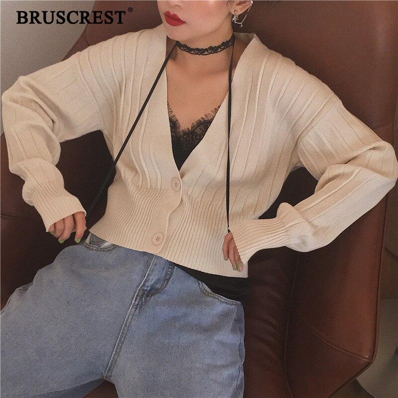 Winter Cardigan Women Deep V Neck Sweater Cropped Cardigan Korean Women Kawaii Ribbed Black Knitted Crop Sweater Autumn 2019