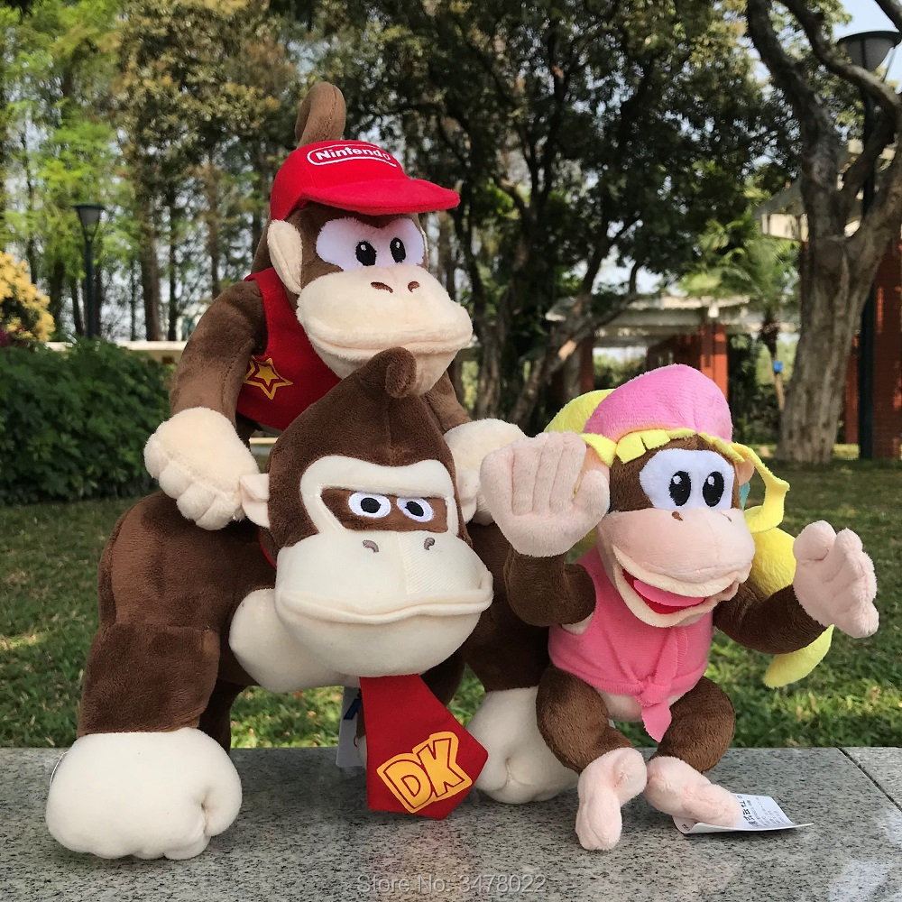 Super Mario Bros Plush Toy Donkey Kong Diddy Kong Sister Dixie Stuffed Monkey Plush Animal Doll ToysSuper Mario Bros Plush Toy Donkey Kong Diddy Kong Sister Dixie Stuffed Monkey Plush Animal Doll Toys