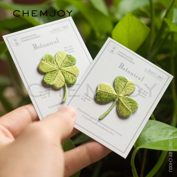 Lucky Clover Embroidery Patches Sew on Applique Iron Patch for Clothing Bags Shoes DIY Craft Repair Clothes Sticker Cute Parches(China)