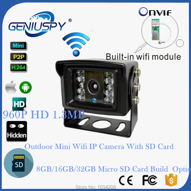 SD Card Record 960P Mini Outdoor Wifi IP Network Camera For BUS ...