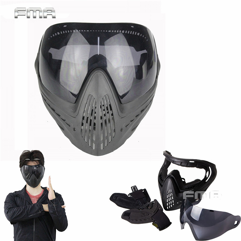Airsoft Paintball Safety Anti-fog Protective Goggle Full Face Mask and Detachable Lens for Military Cs War Game Face Mask cordura stylish war game protection face mask shield black