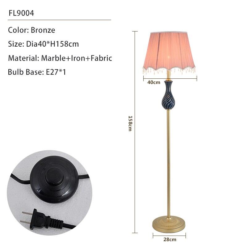 Американский стиль торшер современный тканевый абажур стоящая лампа E27 светодиодные лампы для пола для гостиной настольная прикроватная офисная - Цвет абажура: 9004