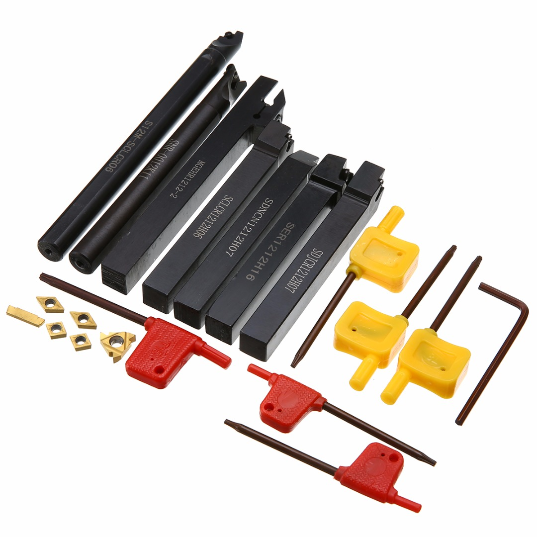 7pcs Carbide Inserts + 7pcs Turning Tool Holder Boring Bar S12M-SCLCR06/ SER1212H16/ SCL1212H06/ MGEHR1212-2 + 7pcs T15 Wrenches free shipping quick change m type external turning tool usage holder mssnr l for carbide insert snmg120408