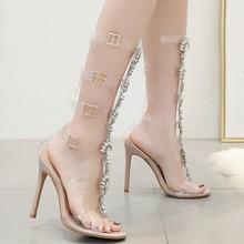 купить Fashion Women Ankle Strap Sandals Casual PU Buckle Strap Thin Heels 11CM Open Toed High Heels Women Sandals Discount Pumps по цене 999.11 рублей