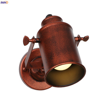 IWHD Rustic Antique Vintage Wall Lamp Beside Bedroom Bathroom Mirror Light Retro LED Wall Lights Sconce Wandlamp Lampara Pared iwhd glass ball vintage wall lamp industral retro iron wandlamp swing arm wall sconce bathroom fixture led wall light up down