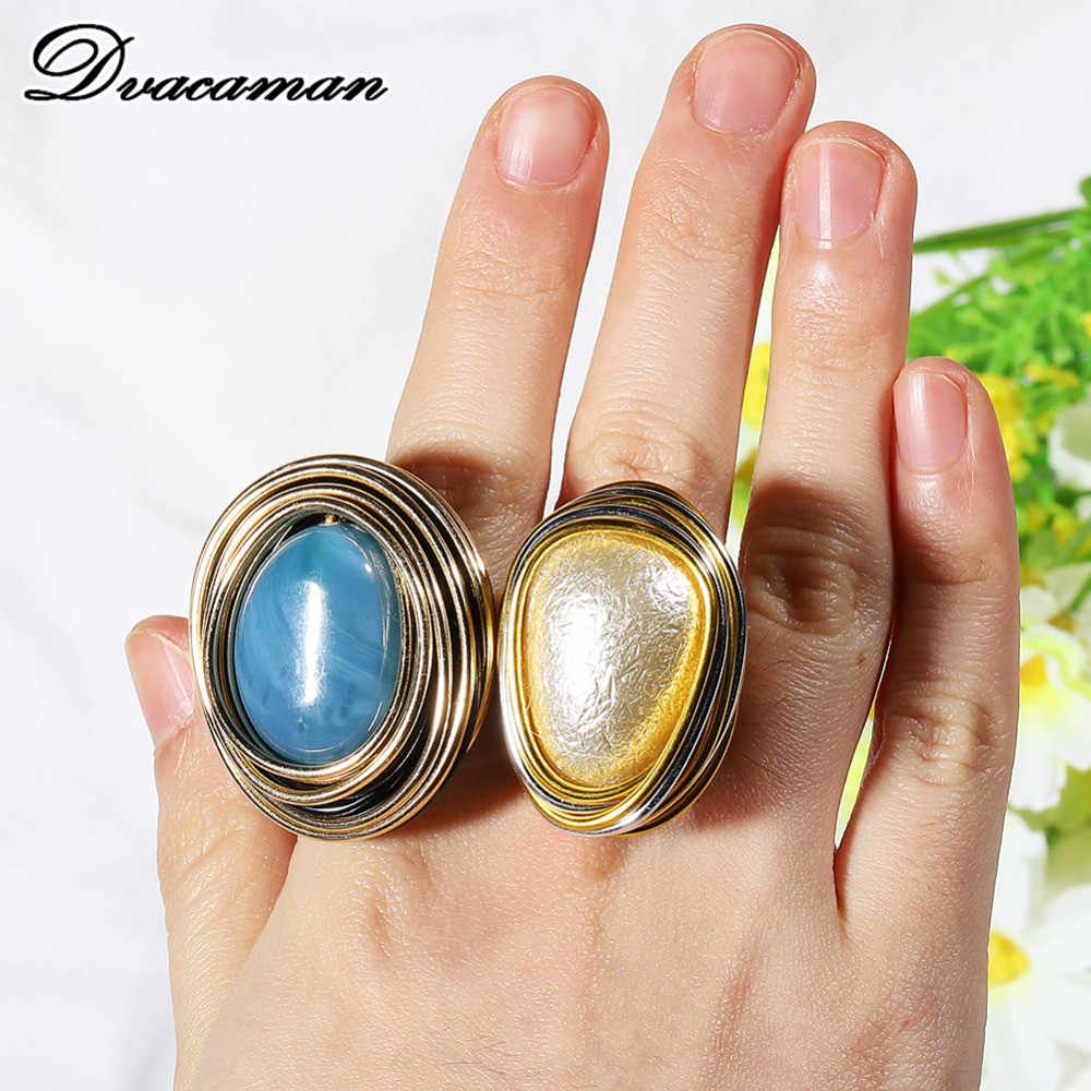 Dvacaman Bohemain 2 Style Wire Spiral Alloy Rings for Women Vintage Simulated Pearl Finger Rings Party Gifts Statement Jewelry