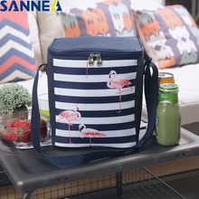 SANNE 6L Flamingo Bag Cooler Waterproof Polyester Refrigerator Insulated Thermal Thicken Foldable Fresh Picnic