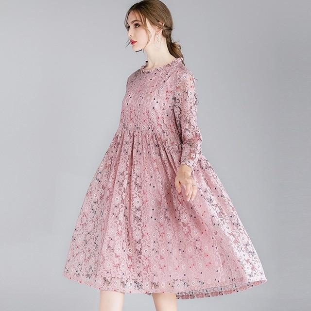 2019 elegant women lace dresses plus size empire high waist bow black dot print women hollow lace loose dress black/pink/green