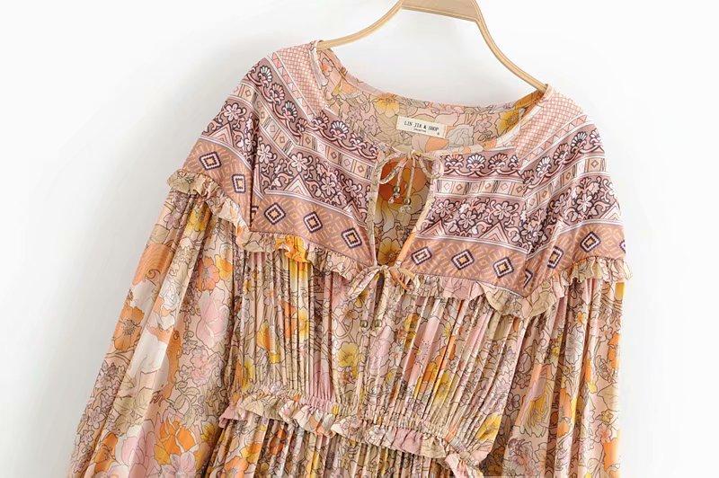 V-Neck Sasches Ruffles Floral Print Boho Dress 3