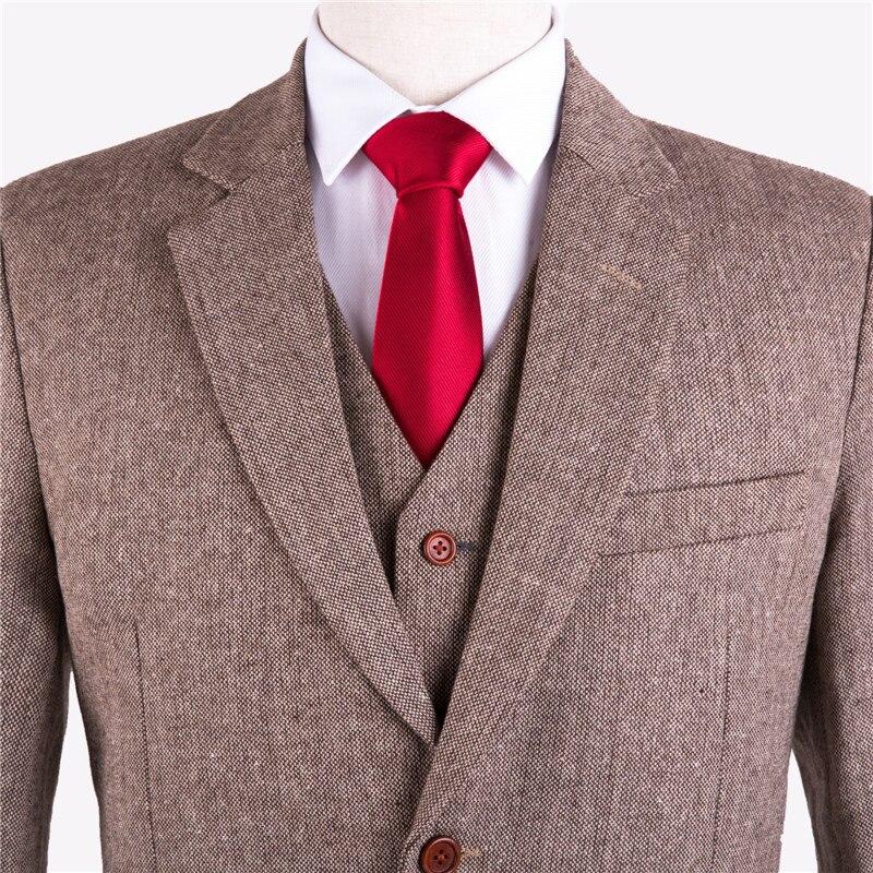 Tuch Maß Brown Farbige Anzüge Tweed Slim Männlichen Stück Smoking Bräutigam Licht Kleid Herren Nach Hochzeit 3 Maßgeschneiderte Retro Fit AXUqBwX