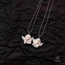 Милый Купидон Ангел кулон ожерелье из нержавеющей стали, длинная цепочка в форме ребенка ювелирные изделия Милая для женщин мужчин дружбы девушка подарки