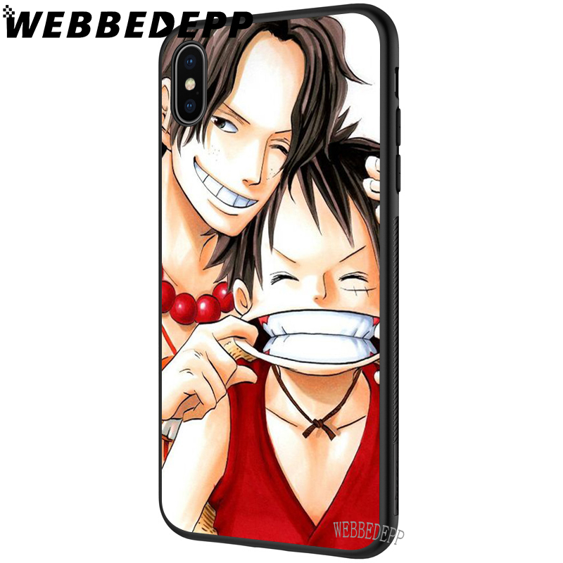 WEBBEDEPP One Piece Monkey D Luffy Ace Soft Case for iPhone 5 5S 6 6S 7 8 Plus X XS MAX XR in Fitted Cases from Cellphones Telecommunications