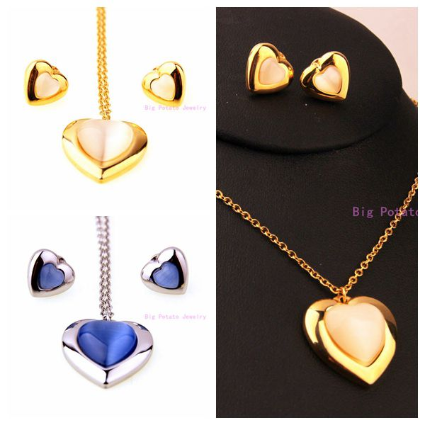 Charming Women s Girl s Jewelry 316L Stainless Steel Silver Blue Gold Romantic  Heart Necklace And Earrings Fashion Jewelry Sets 788bbb2036d4