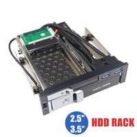 """Bandeja de doble Bahía óptica de 5,25 """"menos carcasa de estante móvil para 2,5/3,5 pulgadas SATAT III HDD SSD con hub USB 3,0 de 2 puertos para PC de escritorio"""