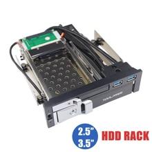 Bandeja óptica de doble bahía de 5,25 pulgadas carcasa de Rack móvil para 2,5/3,5 pulgadas SATAT III HDD SSD con 2 puertos USB 3,0 Hub para PC de escritorio