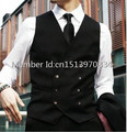 2016 Custom Made Brand New Groom Vests and Pants Black Groomsmens/Best Man Vest Double-Breasted Wedding/Prom/Dinner Waistcoat