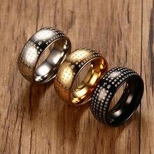 Anel de coração sutra para homens, anel de inteligência masculino em chinês, aço inoxidável, banda de budismo personalizada joias masculinas de 8mm,