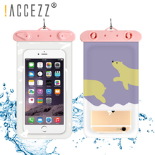 !ACCEZZ PVC Waterproof Phone Case Bag 6 inch For iPhone XR Xiaomi Huawei Samsung Swimming Outdoor Mobile Pouch Cover