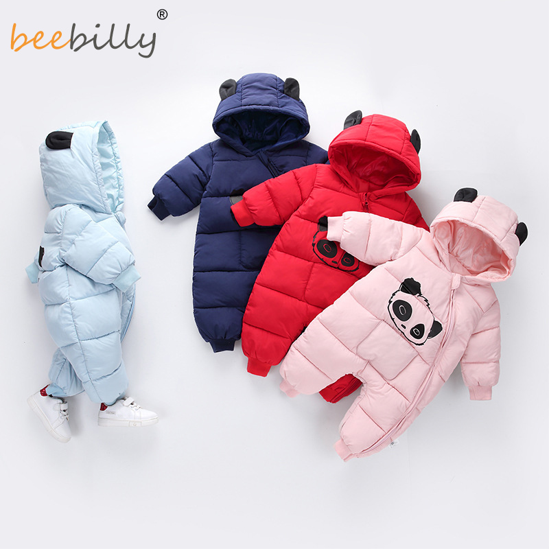 Winter Children Baby Clothes Boys Girls   Rompers   Warm Thickening Hooded Infant Overalls for Newborn Clothing Kid Outwear