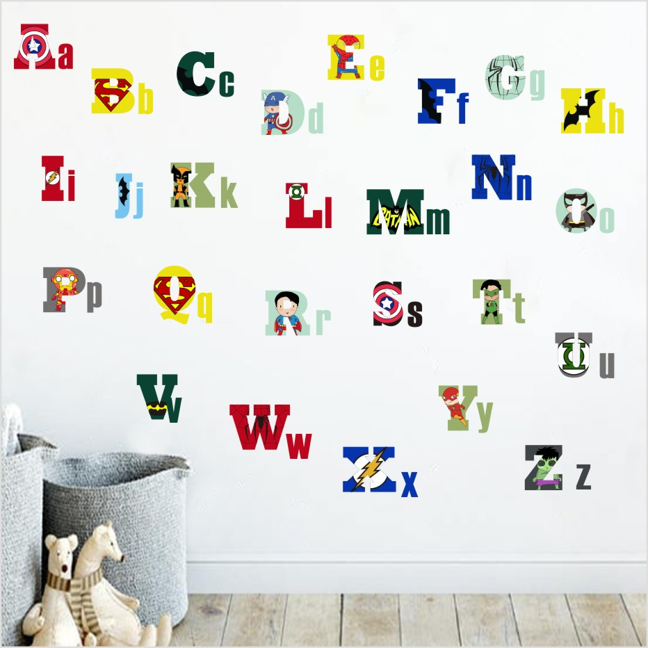 The Avengers Surperman Batman Alphabet Lovely Letters Color Wall Stickers For Kids Rooms Nursery Decorations Wall Art Home Decor