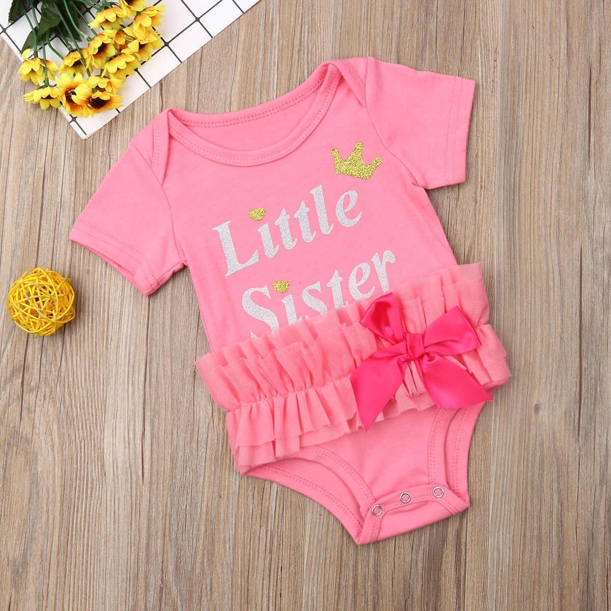 Pudcoco Leuke Zusje Pasgeboren Baby Baby Girl Chiffon Ruffle Romper Jumpsuit Playsuit Zomer Katoen Outfit