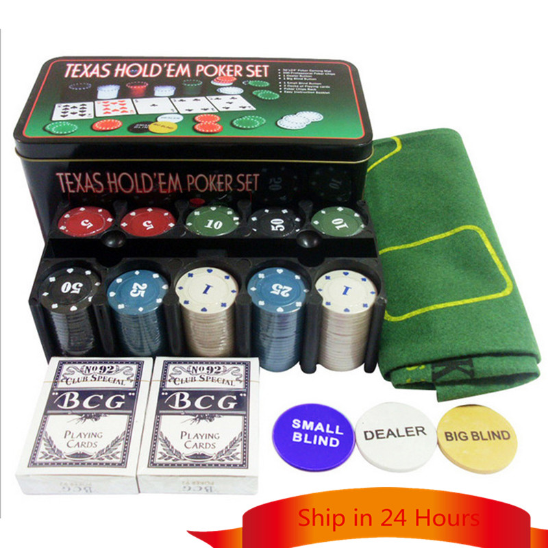 Instock 24*12*11 CM Texas Holdem Poker Set Boxed 200 Poker Chip+2 Poker+ 1 Table cloth+3 Blind For Entertainment With Box and R