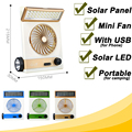 Ventilateur Fan USB Mini Ventilador Ventilador portátil Recarregável Solar Elétrico Refrigerador de Ar Ventiladores de Energia Solar CONDUZIU a Lâmpada para Acampamento Ao Ar Livre