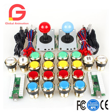 2 Player Arcade DIY Kits Parts USB Encoder To PC Joystick + 5Pin Sticker + Gilded 1 & 2 Players Coin LED Lamp Lights Push Button 2 players diy arcade joystick kits with 20 led arcade buttons 2 joysticks 2 usb encoder kit cables arcade game parts set
