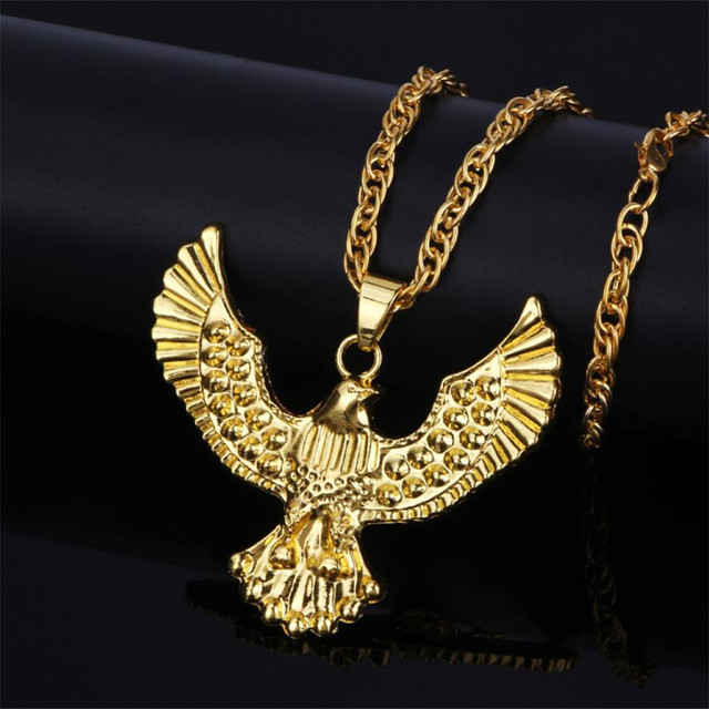 2017 Hip Hop Gold Eagle Jewelry Statement Long Necklace Chain