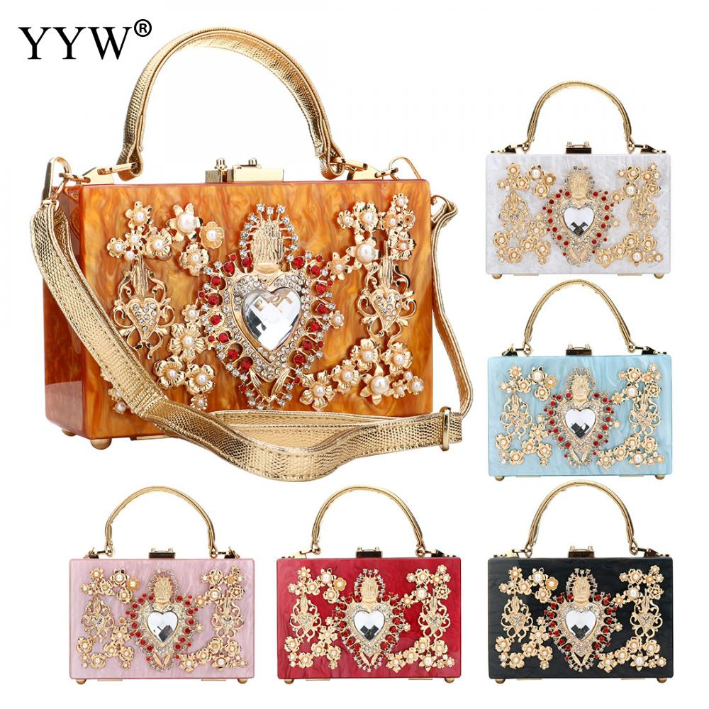 Acrylic Women'S Handbag Evening Clutch Bag Elegant Shoulder Crossbody Diamond Studded Flower Handbag Rhinestone Rectangle Tote-in Top-Handle Bags from Luggage & Bags    2