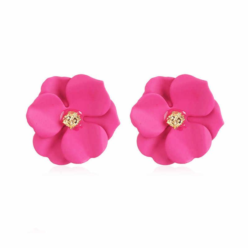 חמוד מתכת פרח Stud עגילים לנשים ילדה קוריאני סגנון אופנה גדול מתוק עגיל נשי Brinco קיץ תכשיטי מתנה עלה