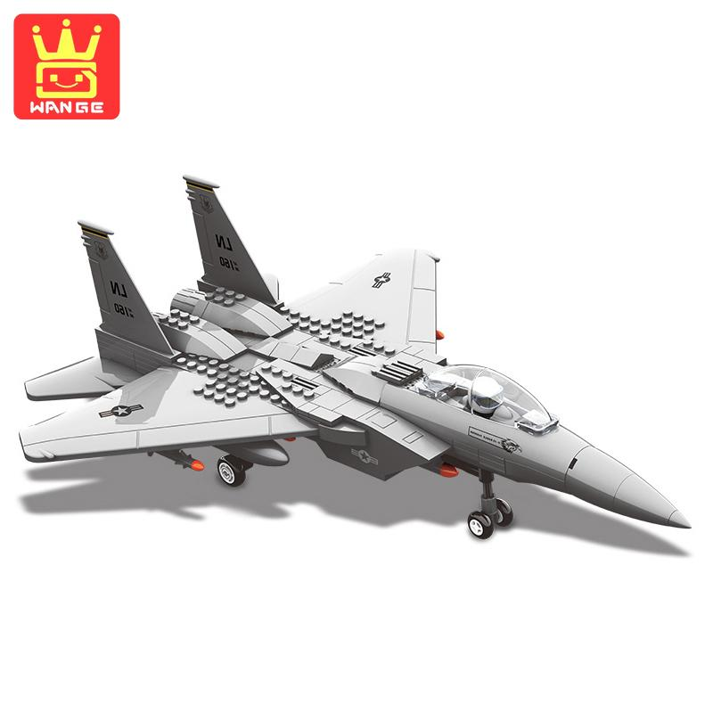 WANGE Eagle Fighter Plane Military Army Series Blocks Action Building Bricks Model Sets Educational Toys For Kids
