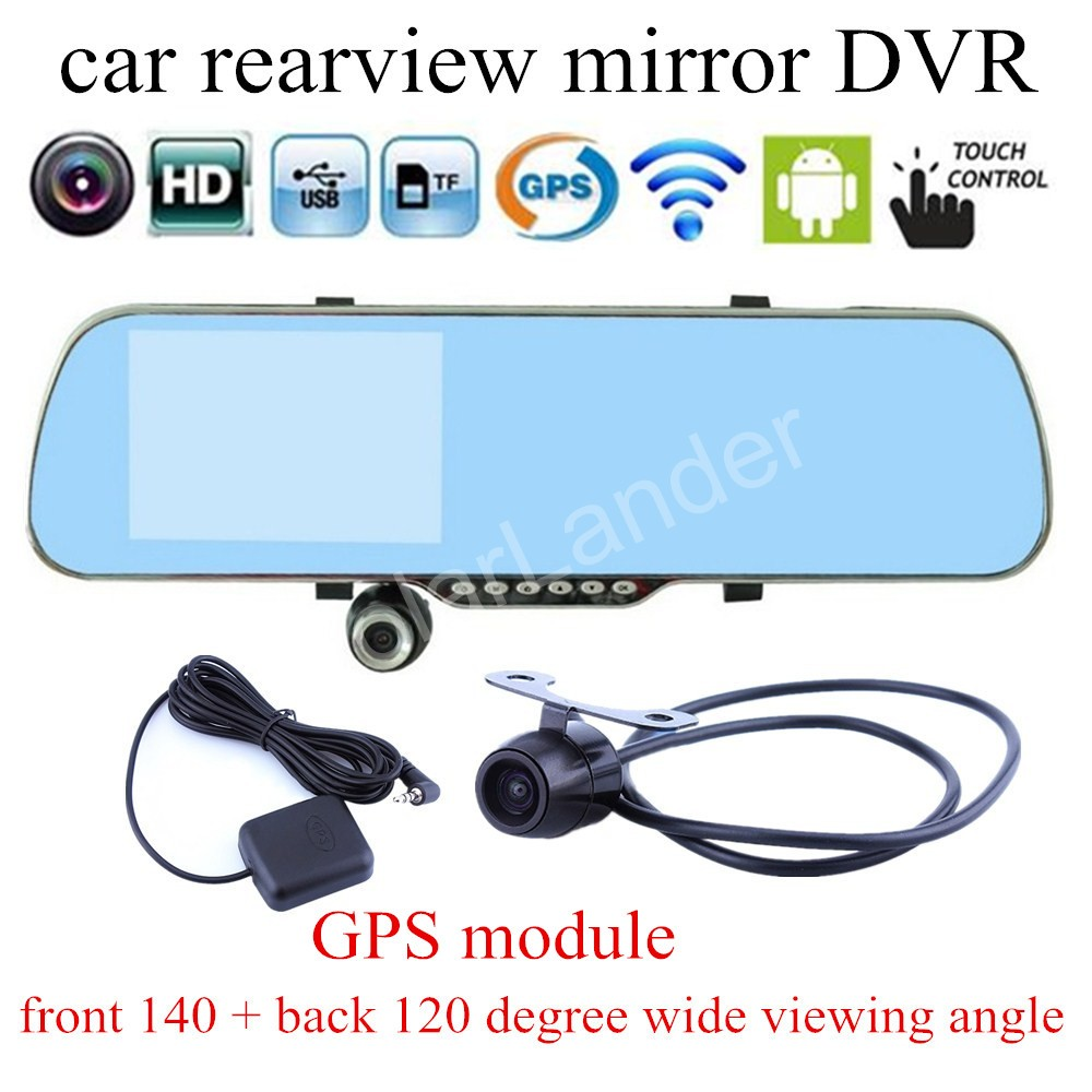 DVR Recording-Camera Rearview-Mirror Loop Navigation WIFI Android For GPS 5inch Touch