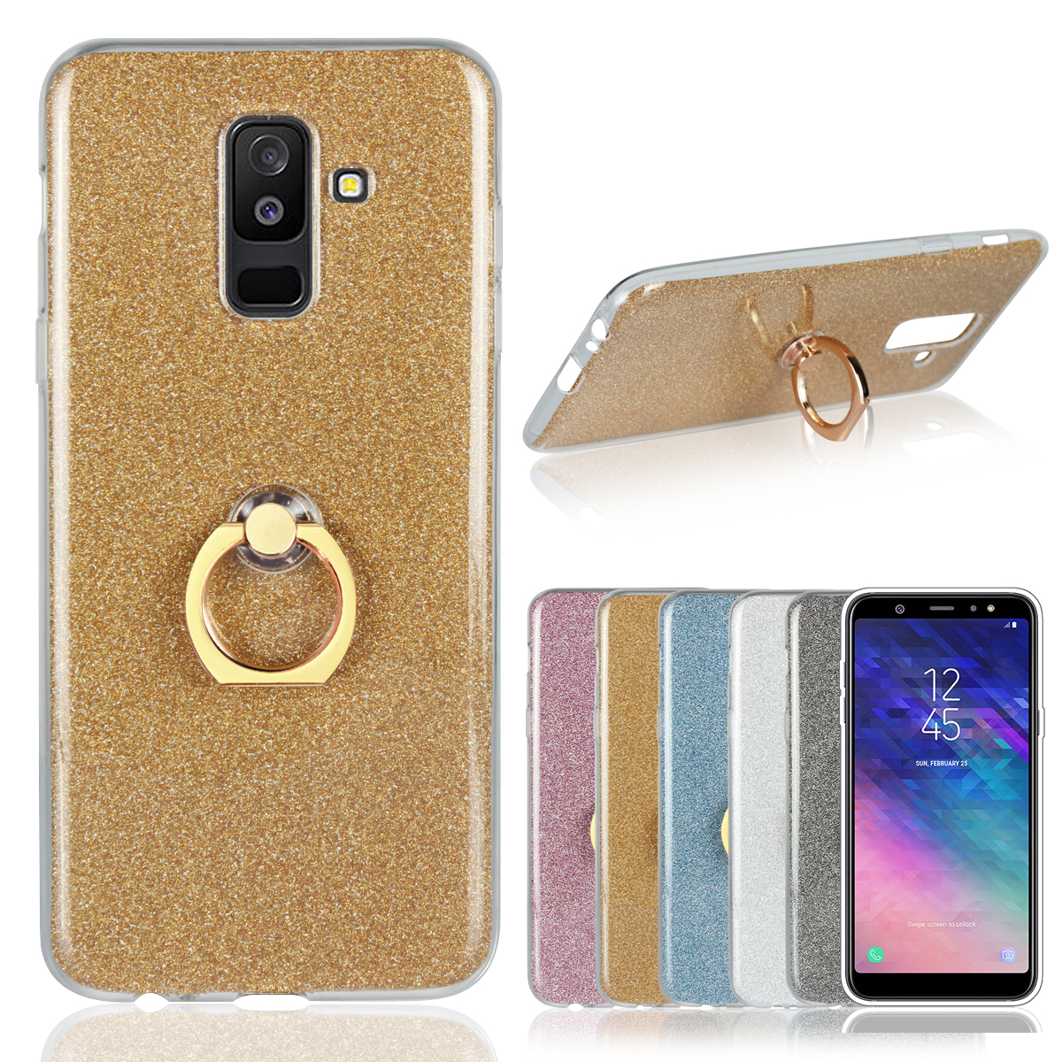 Soft Ring Phone Case for Samsung Galaxy A series A6 A8 Plus A9 Pro A3 A5 A7 2018 Finger Holder Support Bling Cover TPU Rubber