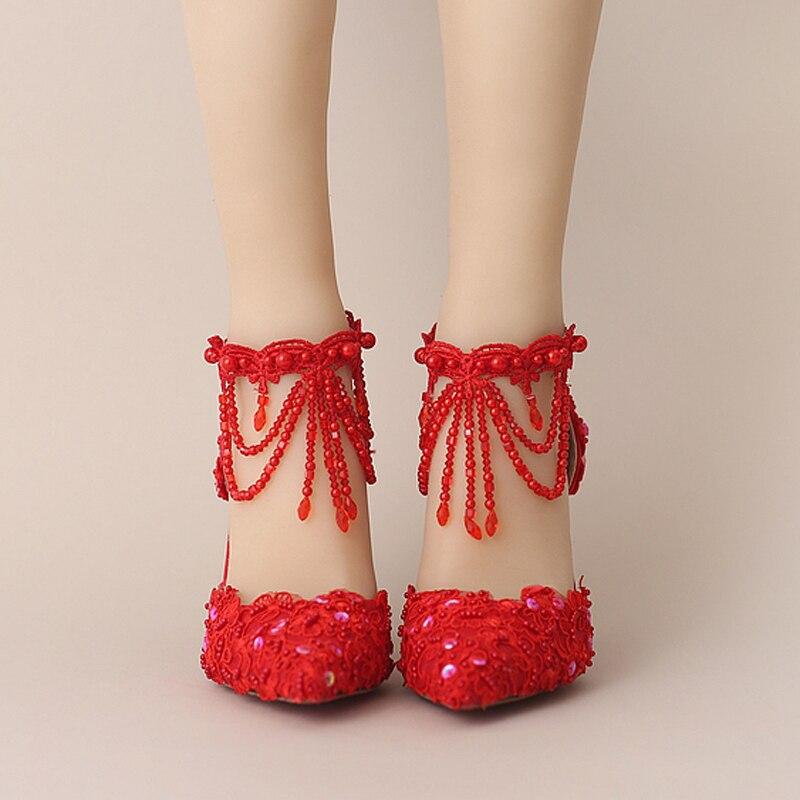 Courroie Blanc Heels New Mariage Cristal Chaussures Pointu Red Perle De Mariée 9cm Bout Couleur Et Belle Heels Cheville white Rouge Summer Bal Dentelle PPxq5rfR