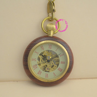 Wholesale Price Good Quality Antique Vintage Retro Gift For Men Wood Brass Case Short Chain Roman
