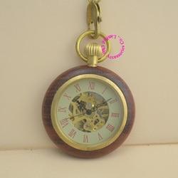 wholesale price good quality antique vintage retro gift for men wood brass case short chain roman mechanical pocket watch hour